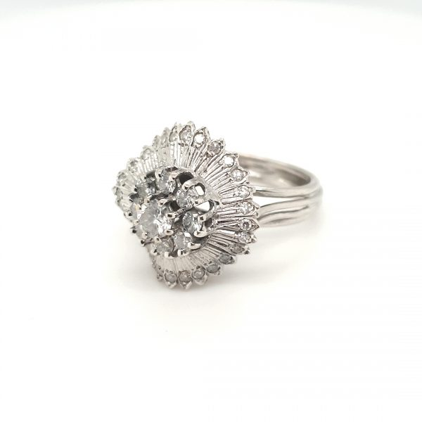 18 karaat diamant ring witgoud occasion vintage tweede hands oud goud juwelier den haag