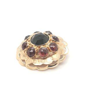 14 karaat granaat broche occasion vintage tweede hands juwelier den haag