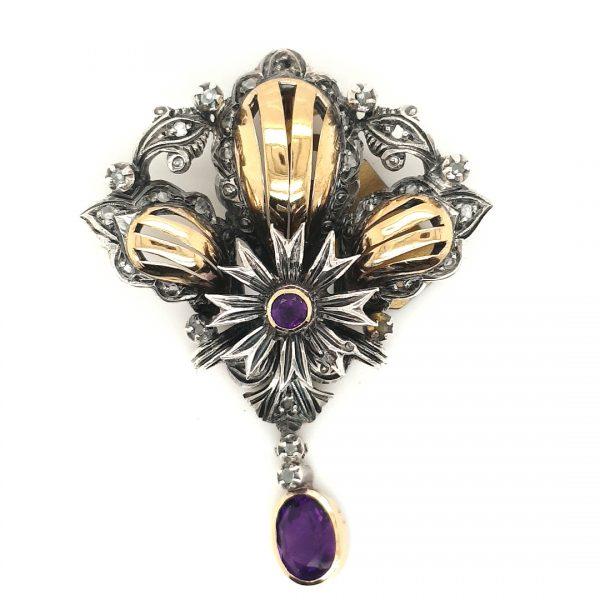 zilver goud hanger amethist diamant vintage tweede hands juwelier den haag