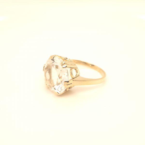 14 karaat ring met bergkristal edelsteen vintage tweede hands juwelier den haag occasion