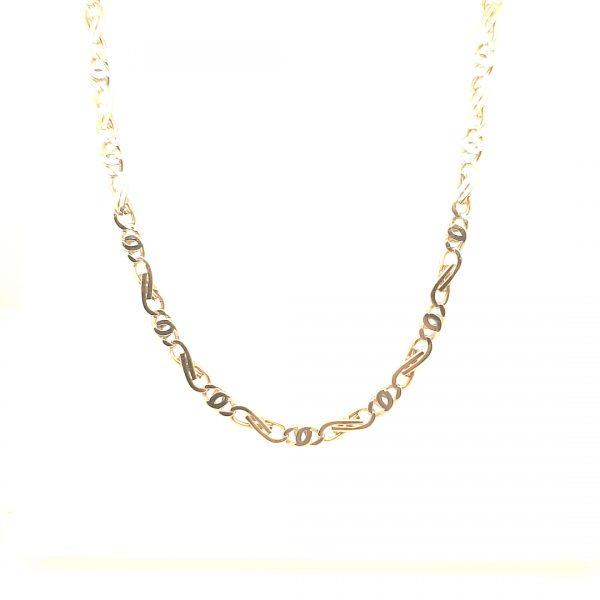 14 karaat bicolor schakel ketting collier tweede hands occasion juwelier den haag
