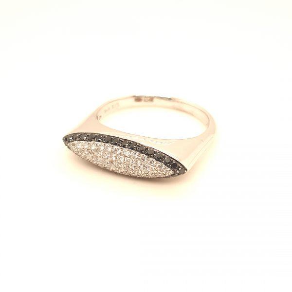14 karaat wit gouden dames briljant ring diamant vintage tweede hands juwelier den haag occasion