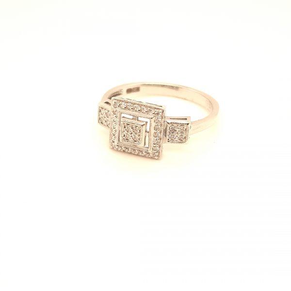 14 karaat wit gouden dames briljant ring diamant vintage tweede hands juwelier den haag occasion art deco