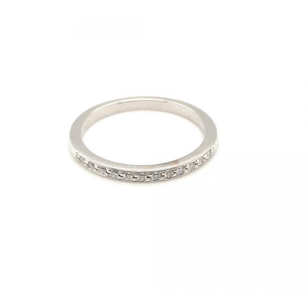 14 karaat witgouden alliance ring met briljant vintage juwelier occasion