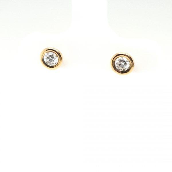 14 karaat oorknoppen 0.40crt briljant occasion juwelier den haag