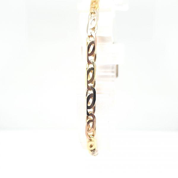 18 karaat drie kleur schakel armband occasion juwelier den haag