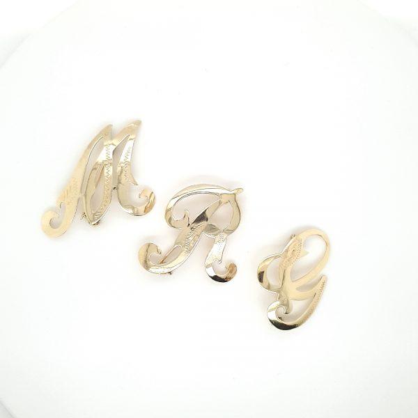 14 karaat letter broche broches vintage tweede hands occasion juwelier den haag.